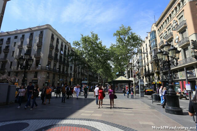 Beautiful Day at the Las Ramblas in Barcelona
