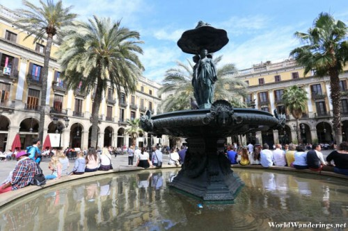 Beautiful Fountain at the Plaça Reial in Barcelona