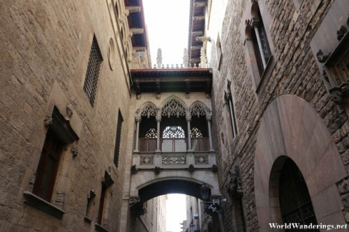 Signature Overhead Bridge of the Gothic Quarter in Barcelona