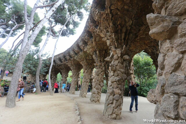 Covered Walkway at Park Güell in Barcelona