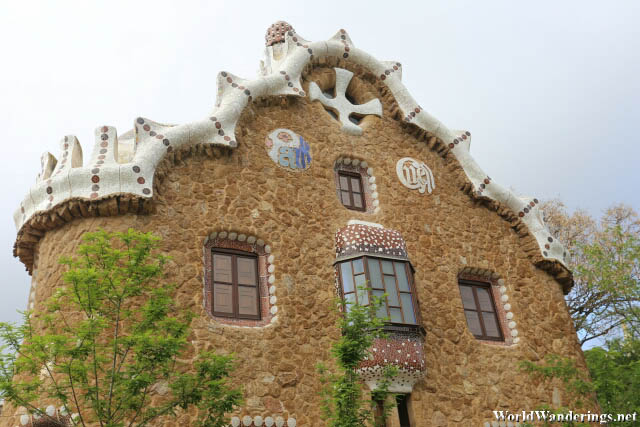 Closer Look at the Gingerbread House in Park Güell in Barcelona