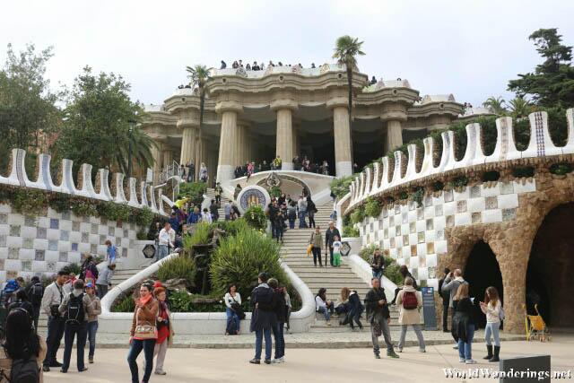 Looking Inside the Park Güell in Barcelona