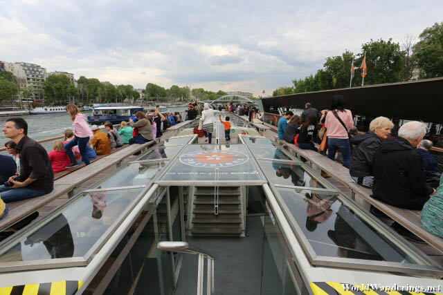 Upper Deck of the River Tour Ferry on the River Seine in Paris