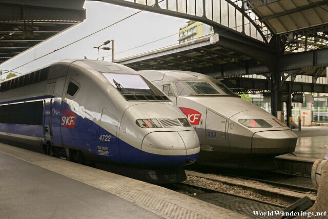 Trains at the Gare de l'Est Railway Station