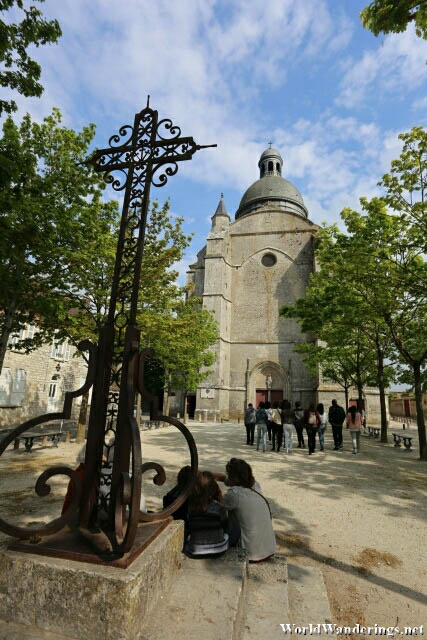 Relaxing at the Park In Front of the Saint Quiriace Church