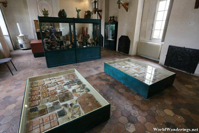 Exhibits on Tiles at the Romanesque House in the Medieval Town of Provins