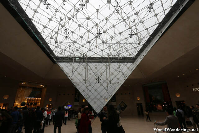 Inverted Pyramid at the Lobby of the Louvre Museum in Paris