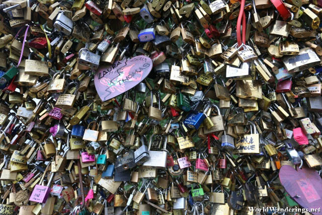 Innumerable Locks Attached to the Pont des Artes in Paris
