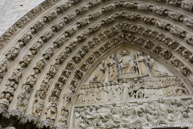 Incredible Detail on the Arch of the Gates of the Notre-Dame de Paris Cathedral