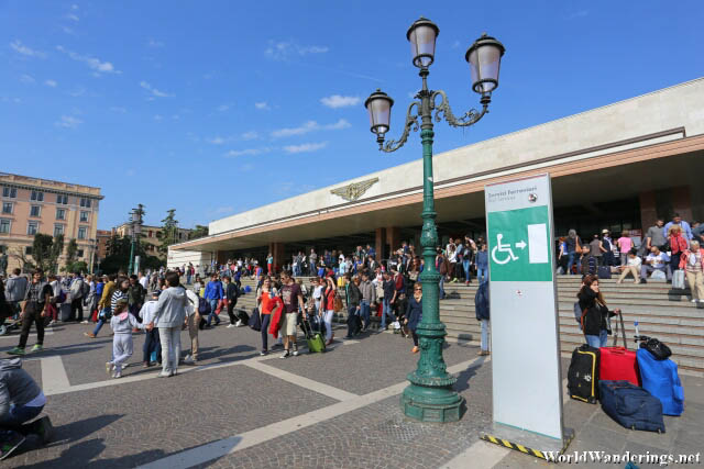 Large Crowd Outside the Venezia Santa Lucia Railway Station