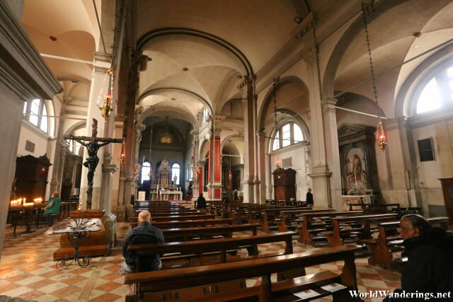 Inside the Church of San Martino in Burano