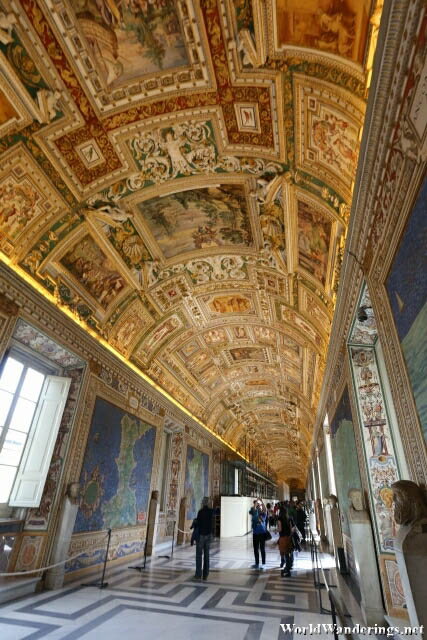 Richly Decorated Ceiling at the Gallery of Maps at the Vatican Museum