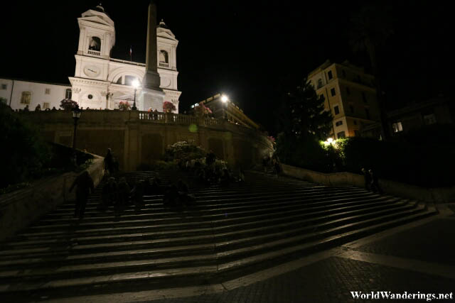 Going Up the Spanish Steps in Rome