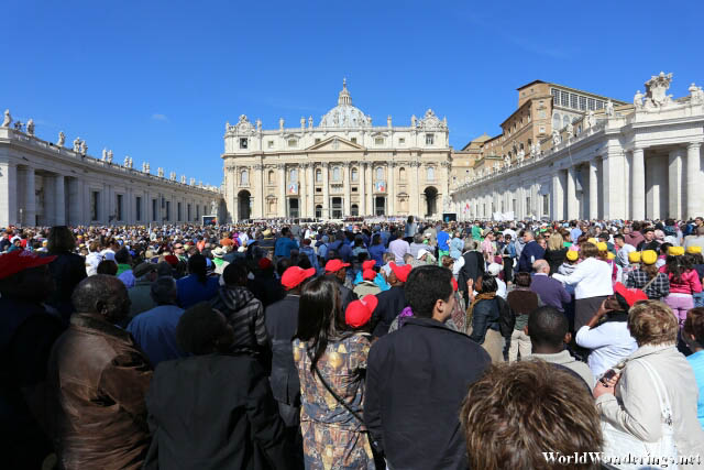 People Gathered for an Audience with Pope Francis