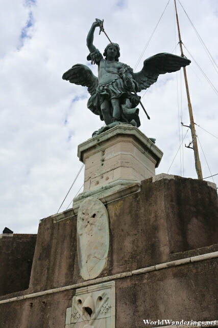 Statue of Saint Michael on Top of Castel Sant'Angelo in Rome