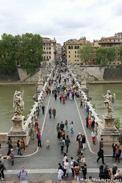 Visitors Crossing the River Tiber in Rome