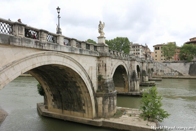 Beautiful Ponte Sant'Angelo Bridge Along the River Tiber