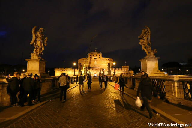 Walking Towards the Castel Sant'Angelo at Night