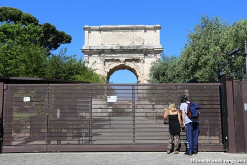 Closed Gates of the Palatine Hill in Rome