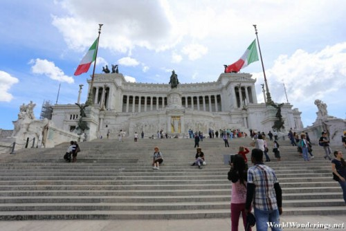 Walking Up the Altare della Patria in Rome