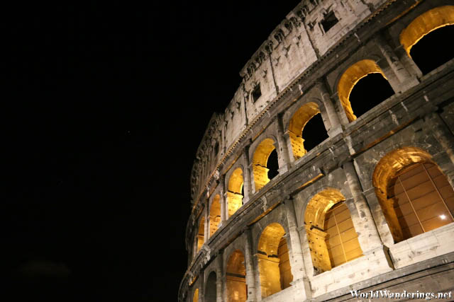 Beautiful Lighting of the Colosseum in Rome