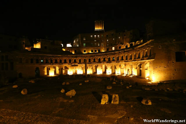 Trajan's Market in Rome at Night