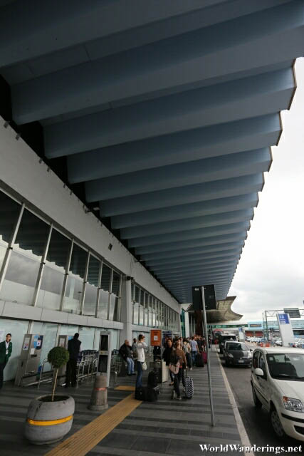 Outside the Rome Fiumicino International Airport