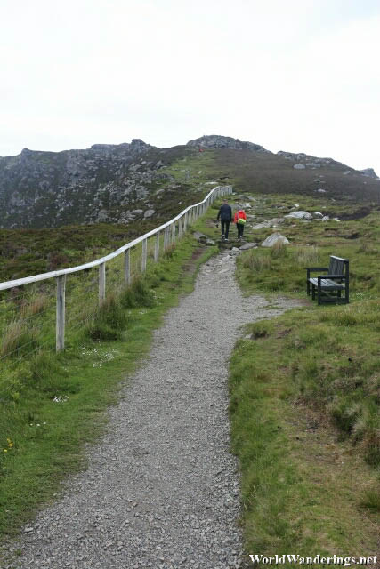 Walking Along the Edge of the Cliffs of Slieve League in County Donegal
