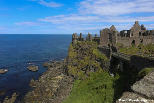Steep Sides of Dunluce Castle in County Antrim