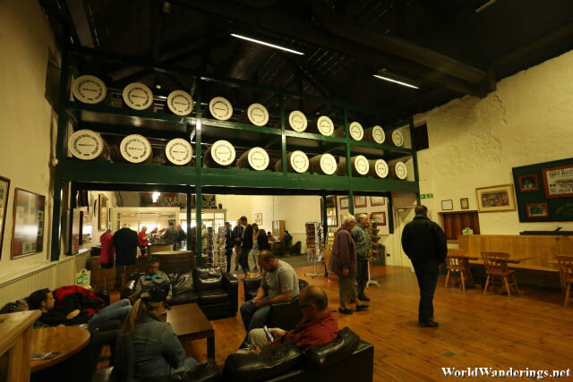 Visitors Waiting at the Old Bushmills Distillery Visitor Center