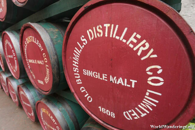 Barrels of Bushmills Whiskey at the Old Bushmills Distillery