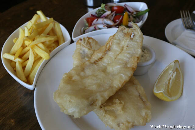 Fish and Chips at a Pub in Dungloe Town