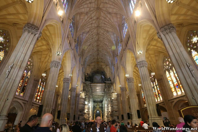 Inside the Saint Patrick's Cathedral in New York