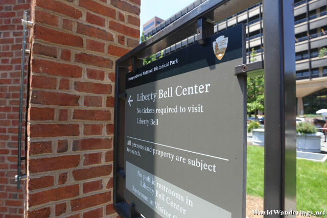 Entering the Liberty Bell Center