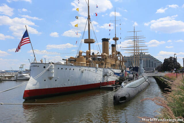 USS Olympia and USS Becuna at Penn's Landing in Philadelphia