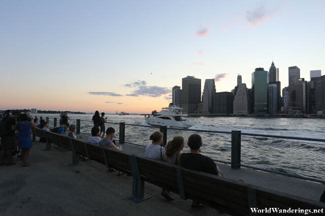Admiring the New York Cityscape From Brooklyn Park Promenade