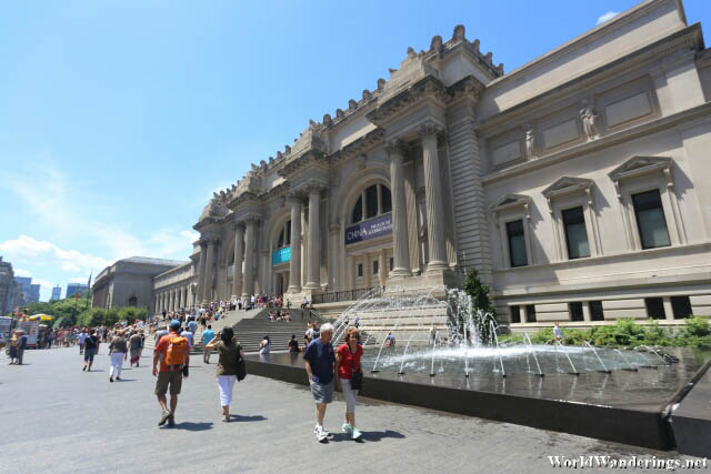 Outside the Metropolitan Museum of Art in New York