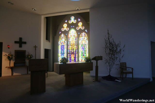 Beautiful Stained Glass Windows by the Altar at Saint Mary's Church in Cong