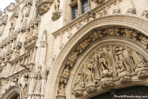 Detail on the Town Hall at the La Grand-Place in Brussels