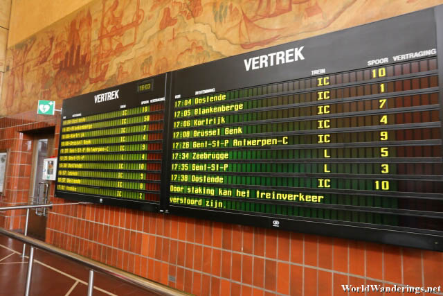 Announcement Board at the Bruges Railway Station
