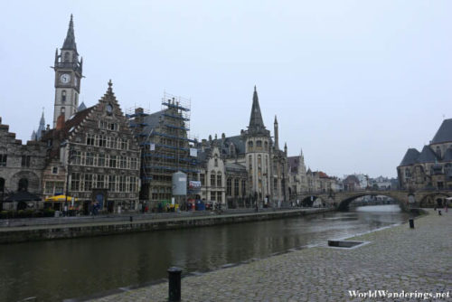 Old Buildings By the River Leie in Ghent