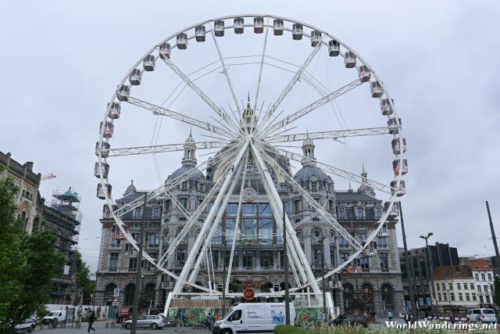 Ferris Wheel in Front of the Antwerp Railway Station