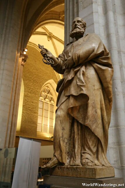 Statue of Saint Peter at the Cathedral of Our Lady in Antwerp