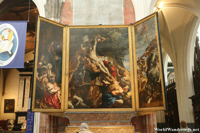 The Raising of the Cross by Peter Paul Rubens at the Cathedral of Our Lady in Antwerp