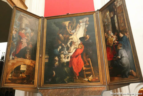 The Descent from the Cross by Peter Paul Rubens at the Cathedral of Our Lady in Antwerp