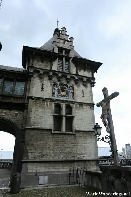 Detail on One of the Towers of the Het Steen in Antwerp
