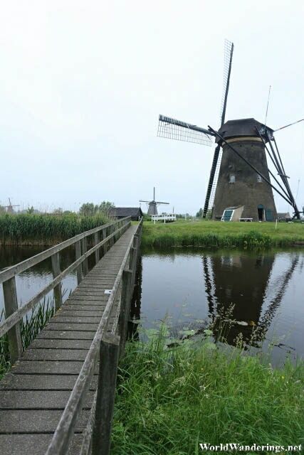 Bridge to go to One of the Windmills at Kinderdijk