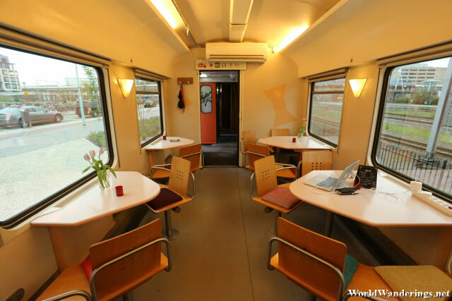 The Dining Car/Charging Room/Reception of the Train Lodge in Amsterdam
