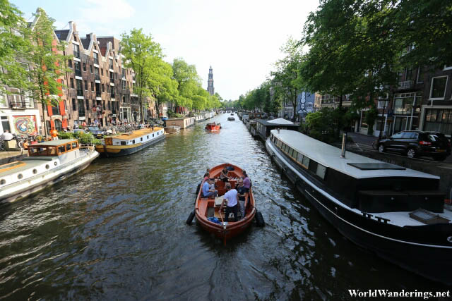 Tourist Boats Along the Canals of Amsterdam