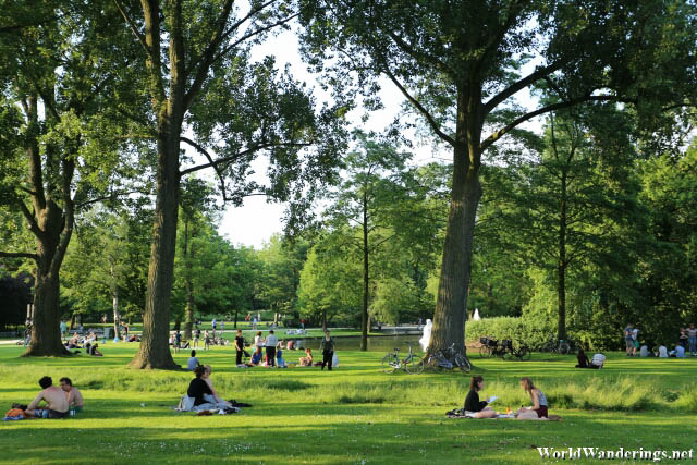 People Relaxing at Westerpark in Amsterdam